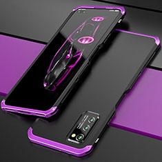 Huawei Honor View 30 5G用ケース 高級感 手触り良い アルミメタル 製の金属製 カバー ファーウェイ パープル・ブラック