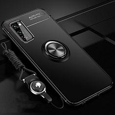 Huawei Honor View 30 5G用極薄ソフトケース シリコンケース 耐衝撃 全面保護 アンド指輪 マグネット式 バンパー ファーウェイ ブラック