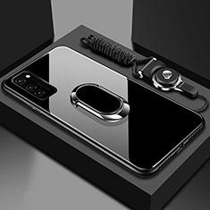 Huawei Honor View 30 5G用ハイブリットバンパーケース プラスチック 鏡面 カバー アンド指輪 マグネット式 ファーウェイ ブラック