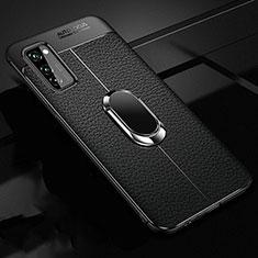 Huawei Honor View 30 5G用シリコンケース ソフトタッチラバー レザー柄 アンド指輪 マグネット式 ファーウェイ ブラック