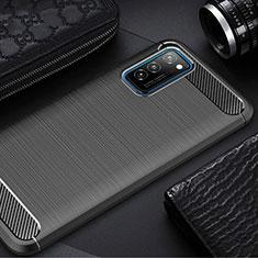 Huawei Honor View 30 5G用シリコンケース ソフトタッチラバー ライン カバー ファーウェイ ブラック