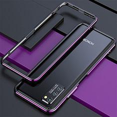Huawei Honor View 30 5G用ケース 高級感 手触り良い アルミメタル 製の金属製 バンパー カバー ファーウェイ パープル