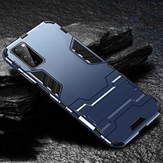 Huawei Honor View 30 5G用ハイブリットバンパーケース スタンド プラスチック 兼シリコーン カバー ファーウェイ ネイビー