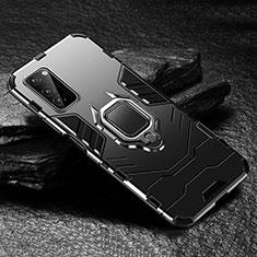 Huawei Honor View 30 5G用ハイブリットバンパーケース プラスチック アンド指輪 マグネット式 ファーウェイ ブラック