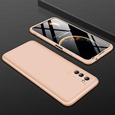 Huawei Honor View 30 5G用ハードケース プラスチック 質感もマット 前面と背面 360度 フルカバー ファーウェイ ゴールド