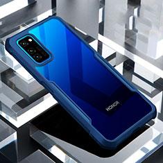 Huawei Honor View 30 5G用ハイブリットバンパーケース クリア透明 プラスチック 鏡面 カバー ファーウェイ ネイビー