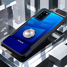 Huawei Honor View 30 5G用360度 フルカバーハイブリットバンパーケース クリア透明 プラスチック 鏡面 アンド指輪 マグネット式 ファーウェイ ブラック