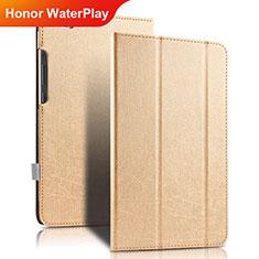 Huawei Honor WaterPlay 10.1 HDN-W09用手帳型 レザーケース スタンド ファーウェイ ゴールド