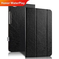 Huawei Honor WaterPlay 10.1 HDN-W09用手帳型 レザーケース スタンド ファーウェイ ブラック