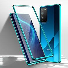 Huawei Honor X10 5G用ケース 高級感 手触り良い アルミメタル 製の金属製 360度 フルカバーバンパー 鏡面 カバー T01 ファーウェイ グリーン