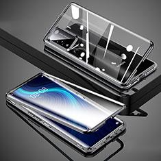 Huawei Honor X10 5G用ケース 高級感 手触り良い アルミメタル 製の金属製 360度 フルカバーバンパー 鏡面 カバー T02 ファーウェイ ブラック
