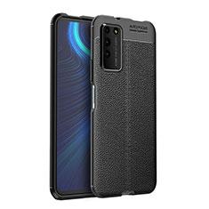 Huawei Honor X10 5G用シリコンケース ソフトタッチラバー レザー柄 カバー H03 ファーウェイ ブラック