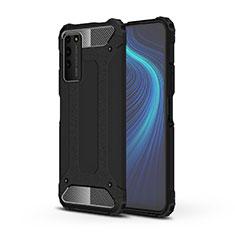 Huawei Honor X10 5G用ハイブリットバンパーケース プラスチック 兼シリコーン カバー R01 ファーウェイ ブラック