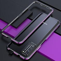 Huawei Honor X10 5G用ケース 高級感 手触り良い アルミメタル 製の金属製 バンパー カバー T01 ファーウェイ パープル・ブラック