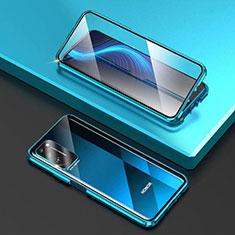 Huawei Honor X10 5G用ケース 高級感 手触り良い アルミメタル 製の金属製 360度 フルカバーバンパー 鏡面 カバー T03 ファーウェイ ブルー