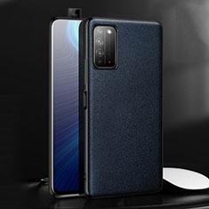 Huawei Honor X10 5G用ケース 高級感 手触り良いレザー柄 ファーウェイ ネイビー