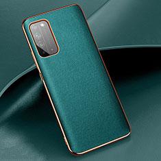 Huawei Honor X10 5G用ケース 高級感 手触り良いレザー柄 S01 ファーウェイ シアン