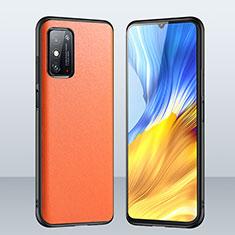 Huawei Honor X10 Max 5G用ケース 高級感 手触り良いレザー柄 ファーウェイ オレンジ