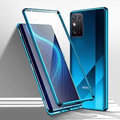 Huawei Honor X10 Max 5G用ケース 高級感 手触り良い アルミメタル 製の金属製 360度 フルカバーバンパー 鏡面 カバー M01 ファーウェイ ネイビー