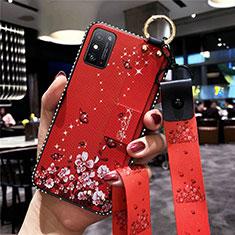 Huawei Honor X10 Max 5G用シリコンケース ソフトタッチラバー 花 カバー ファーウェイ レッド