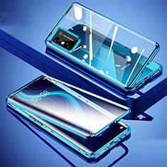 Huawei Honor X10 Max 5G用ケース 高級感 手触り良い アルミメタル 製の金属製 360度 フルカバーバンパー 鏡面 カバー ファーウェイ ネイビー