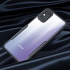 Huawei Honor X10 Max 5G用ハイブリットバンパーケース クリア透明 プラスチック 鏡面 カバー ファーウェイ ブラック