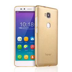 Huawei Honor X5用極薄ソフトケース シリコンケース 耐衝撃 全面保護 クリア透明 ファーウェイ ゴールド