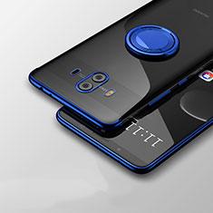 Huawei Mate 10用極薄ソフトケース シリコンケース 耐衝撃 全面保護 クリア透明 アンドスタンド ファーウェイ ネイビー