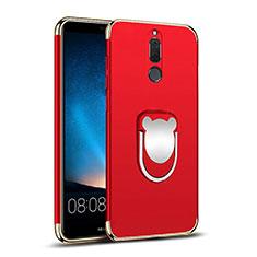 Huawei Mate 10 Lite用ケース 高級感 手触り良い メタル兼プラスチック バンパー アンド指輪 ファーウェイ レッド