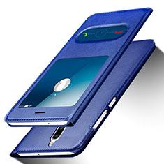 Huawei Mate 10 Lite用手帳型 レザーケース スタンド ファーウェイ ネイビー