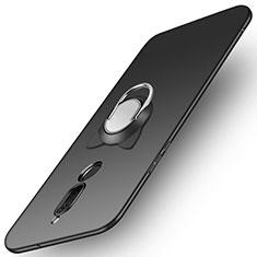 Huawei Mate 10 Lite用ハードケース プラスチック 質感もマット アンド指輪 A02 ファーウェイ ブラック