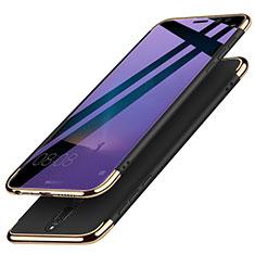 Huawei Mate 10 Lite用ケース 高級感 手触り良い メタル兼プラスチック バンパー アンド指輪 ファーウェイ ブラック