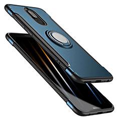 Huawei Mate 10 Lite用ハイブリットバンパーケース プラスチック アンド指輪 兼シリコーン ファーウェイ ネイビー