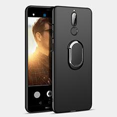 Huawei Mate 10 Lite用ハードケース プラスチック 質感もマット アンド指輪 A03 ファーウェイ ブラック