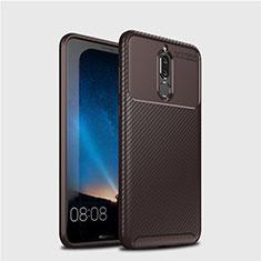 Huawei Mate 10 Lite用シリコンケース ソフトタッチラバー ツイル カバー S03 ファーウェイ ブラウン