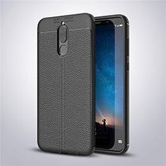 Huawei Mate 10 Lite用シリコンケース ソフトタッチラバー レザー柄 S03 ファーウェイ ブラック