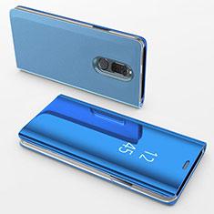 Huawei Mate 10 Lite用手帳型 レザーケース スタンド 鏡面 カバー ファーウェイ ネイビー