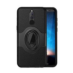 Huawei Mate 10 Lite用ハイブリットバンパーケース スタンド プラスチック 兼シリコーン カバー マグネット式 ファーウェイ ブラック