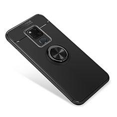 Huawei Mate 20用極薄ソフトケース シリコンケース 耐衝撃 全面保護 アンド指輪 マグネット式 バンパー ファーウェイ ブラック