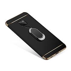 Huawei Mate 20用ケース 高級感 手触り良い メタル兼プラスチック バンパー アンド指輪 A01 ファーウェイ ブラック