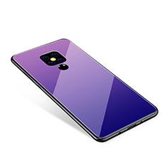 Huawei Mate 20用ハイブリットバンパーケース プラスチック 鏡面 虹 グラデーション 勾配色 カバー ファーウェイ パープル