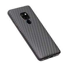 Huawei Mate 20用シリコンケース ソフトタッチラバー ツイル T03 ファーウェイ ブラック