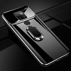 Huawei Mate 20用ハードケース プラスチック 鏡面 360度 フルカバー アンド指輪 マグネット式 ファーウェイ ブラック