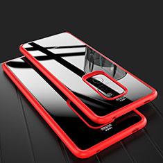 Huawei Mate 20用ハイブリットバンパーケース クリア透明 プラスチック 鏡面 カバー M02 ファーウェイ レッド