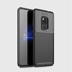 Huawei Mate 20用シリコンケース ソフトタッチラバー ツイル カバー S03 ファーウェイ ブラック