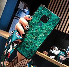 Huawei Mate 20用ハイブリットバンパーケース プラスチック パターン 鏡面 カバー ファーウェイ グリーン
