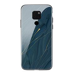 Huawei Mate 20用ハイブリットバンパーケース プラスチック パターン 鏡面 カバー S01 ファーウェイ ネイビー