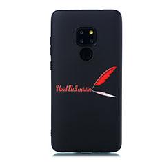 Huawei Mate 20用シリコンケース ソフトタッチラバー バタフライ パターン カバー S01 ファーウェイ レッド