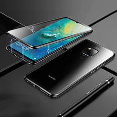 Huawei Mate 20用ケース 高級感 手触り良い アルミメタル 製の金属製 360度 フルカバーバンパー 鏡面 カバー M02 ファーウェイ ブラック