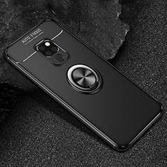 Huawei Mate 20用極薄ソフトケース シリコンケース 耐衝撃 全面保護 アンド指輪 マグネット式 バンパー T01 ファーウェイ ブラック